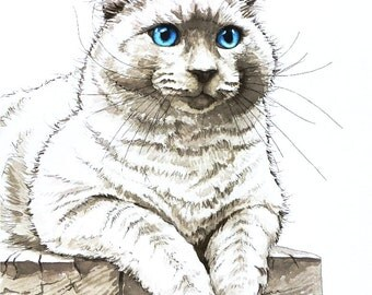Custom Cat Portrait Watercolor Painting - 11x15