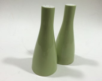 Chartreuse Green Pillar Shaped Salt & Pepper Shakers Made in England
