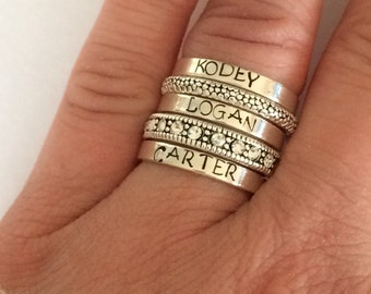 Sterling silver stacking ring personalized  - hand stamped ring - very sturdy ring - great gift - fun piece of jewelry