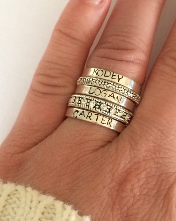 sterling silver stacking ring personalized hand stamped. Black Bedroom Furniture Sets. Home Design Ideas