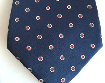 Blue Silk with Red Dots Tie, Blue and Red Tie, 100% Silk Tie, Free US Shipping