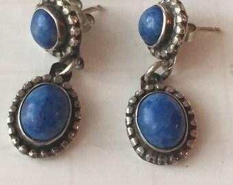Sterling Silver Lapis Lazuli Dangle Earrings, Lapis Earrings, Vintage Lapis Lazul Earrings, Blue Cobalt Oval Dangle, Statement Earrings Drop