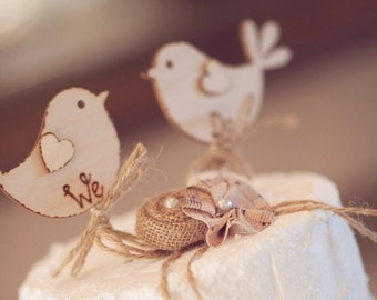 We Do - Rustic Wedding Cake Topper- Bird Cake Topper - Rustic Cake Topper - Wooden Cake Topper - Best Seller