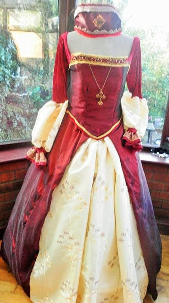 Tudor gown headress hooped underskirt custom made for you for Tudor style wedding dress