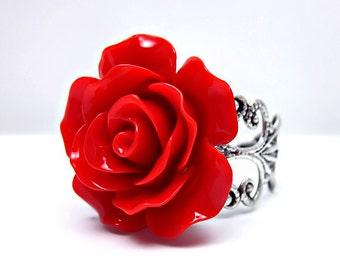 Red Rose Ring; Silver Filigree Ring; Adjustable Ring; Resin Rose Ring; Red Rose Jewelry; Ruby Red Ring; Filigree Rose Ring; Handmade Ring