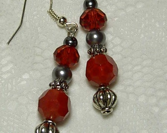 "Cynthia Lynn HEARTS AFLAME"" Red Glass Crystal Beaded Tibetan Silver Earrings 2"""
