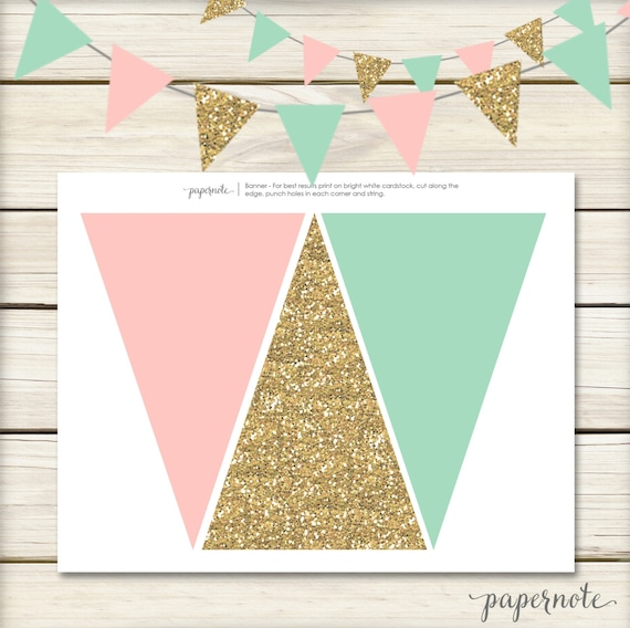 First Birthday Party In A Box In Gold Mint And Pink: Instant Download // Pink Mint And Gold Banner // Mint And