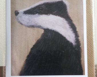 Portrait of a Badger Blank Art Greeting Card