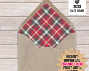 ENVELOPE LINERS Tartan Pattern 001 | Download And Print These Hipster Euro Envelope Liners.