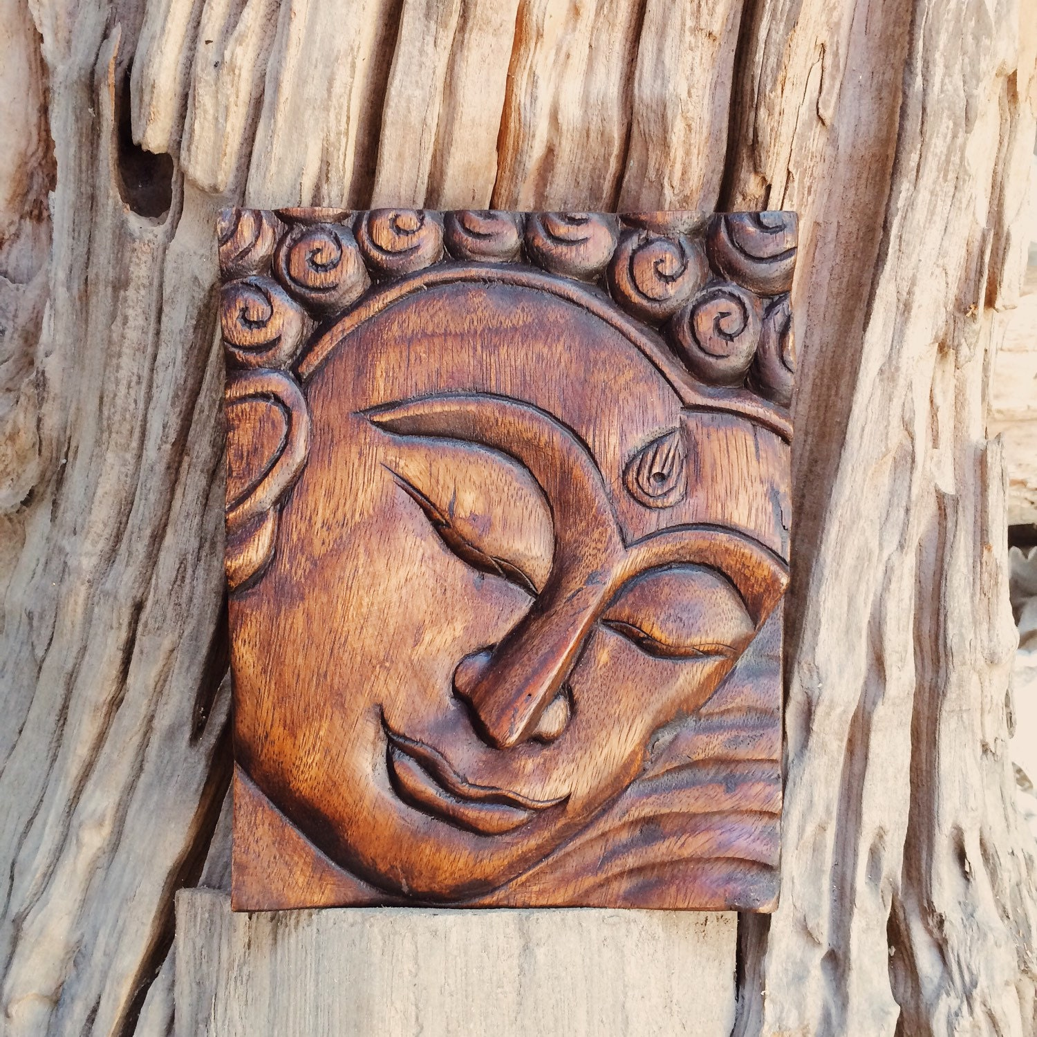 Buddha image panel thai carved wood wall hanging by