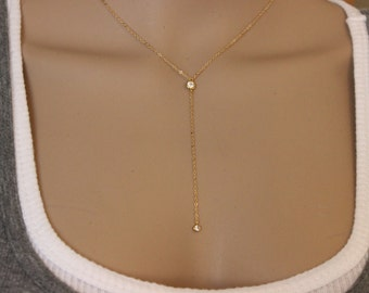 Gold lariat CZ diamond necklace, Silver available, Y necklace, layerer necklace, Long Necklace, Delicate gold neclace, layer, simple lariat.
