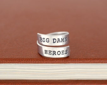 SALE -  Big Damn Heroes - Firefly - Adjustable Aluminum Wrap Ring