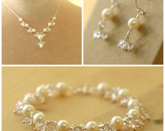 Bridal jewelry set, wedding jewelry set, pearl wedding jewelry, bridal jewellery set - Florence