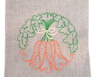 Tea Towel or Guest Towel Embroidered Carrot Wreath on Linen