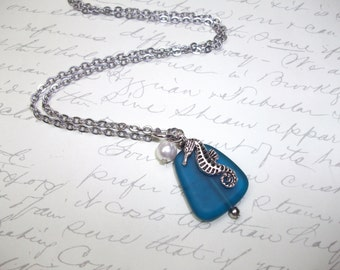 Teal blue seaglass necklace with seahorse and pearl