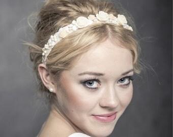 Bridal headband with natural coral roses, crystals and nacre irregular stones, wedding headband