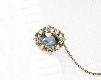Rhinestone Sweater Clip - Antique Gold with Grey / Gray