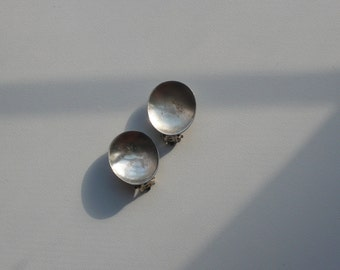 Vintage Sterling Silver Concave Oval Earrings