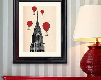 Chrysler Building  Red Hot Air Balloons Art Print Poster Acrylic Painting Mixed Media Poster Wall Art Wall Hanging Wall Decor New York