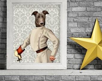 Greyhound poster - fencer portrait - gift idea for dad groomsman gift greyhound illustration italy greyhound italian greyhound art print
