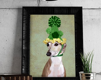 Greyhound Print  Green Hat poster dog illustration dog picture dog gift dog lover dog print painting portrait
