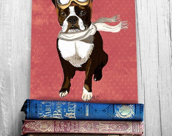 Boston Terrier Flying Ace , Art Print Illustration Poster Acrylic Painting Giclee Wall Decor Wall hanging Wall Art Flying Dog Print