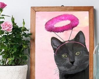 Black Cat with Halo  black cat poster, cat wall decor, cat illustration, cat picture, cat gift cat lover black cat print, cat art, angel