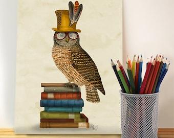 Bookworm gift - Owl on Books  gift for book lovers book nerd library print literary print teacher appreciation gift Nerdy gift geek nursery