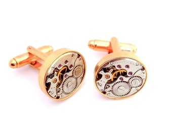 Steampunk Watch Cufflinks, Vintage Clockwork Watch Movement Cuff Links - Rose Gold Gears