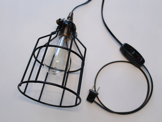 Hanging Lamps With Wall Plugs : Items similar to Industrial Cage Pendant Lamp - Plug-In Cage Light - Rustic Lighting ...