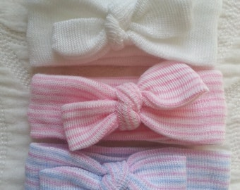 Newborn Headband(s),  Single or Set of 3 Mini Baby Headbands,  Newborn's First Headbands, newborn girl hospital bow