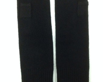 100% CASHMERE FINGERLESS GLOVES in Black, Practical Seamless Hand & Arm Warmers for  Women or Men