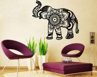 Elephant Wall Decal Namaste Lotus Flower Wall Decals Vinyl Sticker Tribal Indian Pattern Om Ganesh Buddha Home Decor Bedroom SV6102