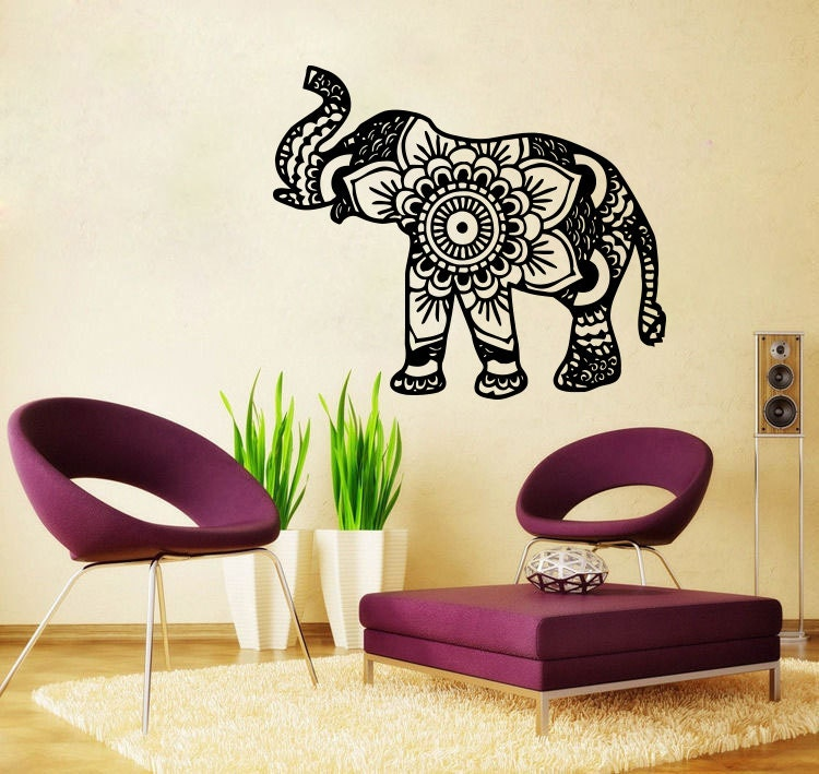Elephant Wall Decal Namaste Lotus Flower Wall Decals Vinyl Sticker Tribal Indian Pattern Om Ganesh Buddha