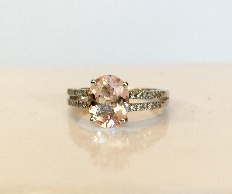 vintage jewelry ring pink morganite ring genuine gemstone