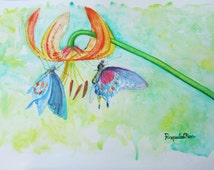 Watercolor original painting - Lily/Lilium and butterflies (26x40 cm) vivid colorful orange, green, violet, blue, red, yellow
