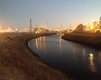 """Industrial Photography Oil Refinery near Dominguez Channel, Los Angeles, Ca. October 2014, 8 x 10"""" -- UNFRAMED"""