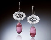 Sterling Silver & Cranberry Mookaite Statement Earrings, Boho Jewelry Handmade by Me