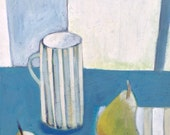 Still life, Grey and blues original painting by Este MacLeod 'Striped mug'