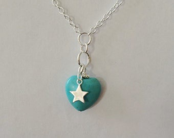 Turquoise Heart Star Charm Necklace,  Sterling Silver Necklace,Turquoise Pendant, Blue Jewellery, Personalised Necklace, Heart Charm Pendant