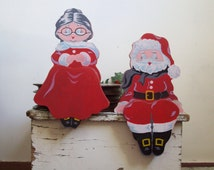Vintage wood Santa Mrs Claus shelf sitters Christmas shelf sitters