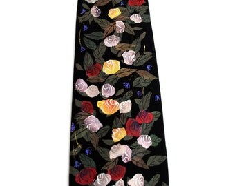 Hand Painted Men Silk Necktie Novelty Art Neck Tie Roses to Heaven Red Yellow Pink