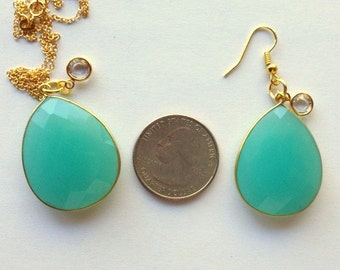 Large Aqua Chalcedony and Crystal Pendant/Necklace or Earrings - Long Drop Aqua Color Chalcedony Statement Earrings