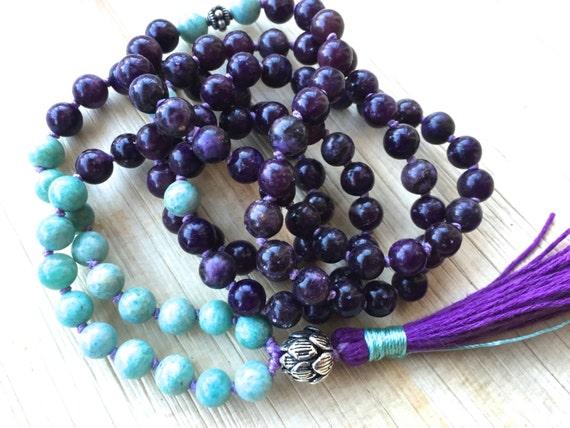 Lepidolite Mala Beads, Russian Amazonite, Thai Silver Lotus Guru Bead,  Natural Stone, Healing Jewelry, Stress Relief, Prayer Beads