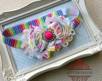 Adjustable Rainbow Shabby Flower Headband, Adjustable, Baby Headband, Girls headband, Toddler Headband, Photo Prop