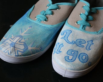 Hand-Painted Keds-Style Shoes: Disney's Frozen/Elsa Inspired (Women's Size 7/8)
