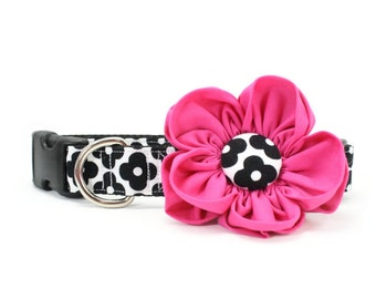 Hot Pink Dog Flower Collar Retro Black and White Floral Girly Mod Dog Collar - Caroline