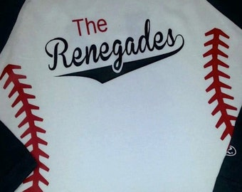 Team Name Shirts with Baseball Stitches