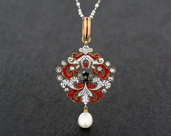 Antique Sapphire Pendant - Victorian Renaissance Revival Holbeinesque Enamel Sapphire Diamond and Pearl Pendant