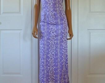 1990s Hilo Hatties Resort Sheath Dress Purple Lavender Bias Cut/2/S